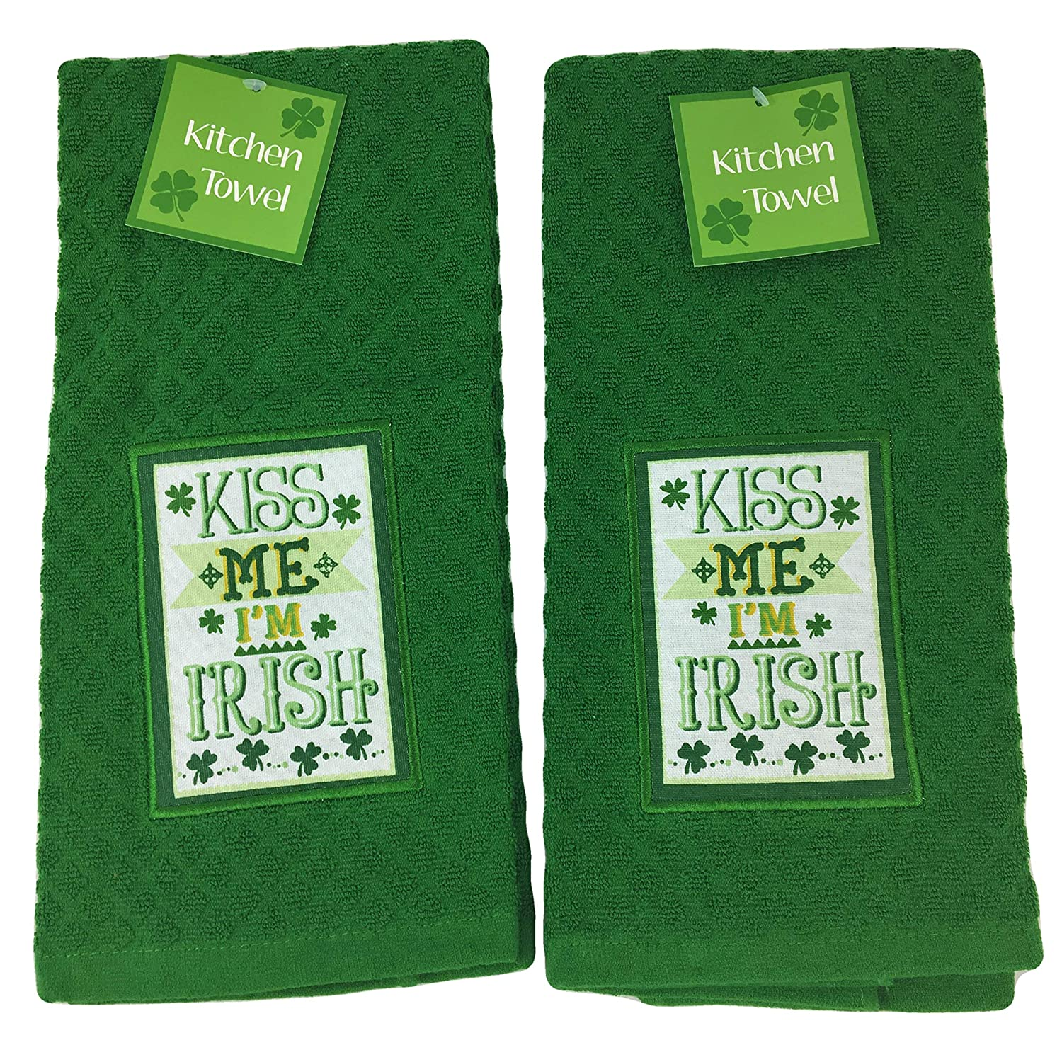 St. Patricks Day Green Kitchen Dish Towels Set Kiss Me Im Irish