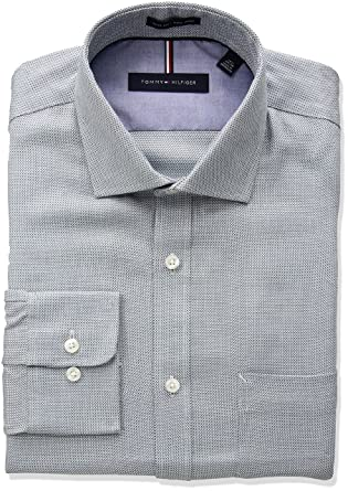 ad80ef4f Tommy Hilfiger Men's Non Iron Slim Fit Micro Check Dress Shirt at Amazon  Men's Clothing store: