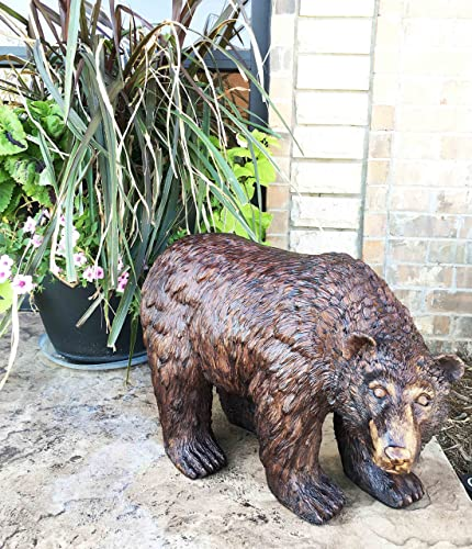 Gifts Decor Large 21″ Long Grizzly Brown Bear Hardened Polyresin Outdoor Decorative Statue