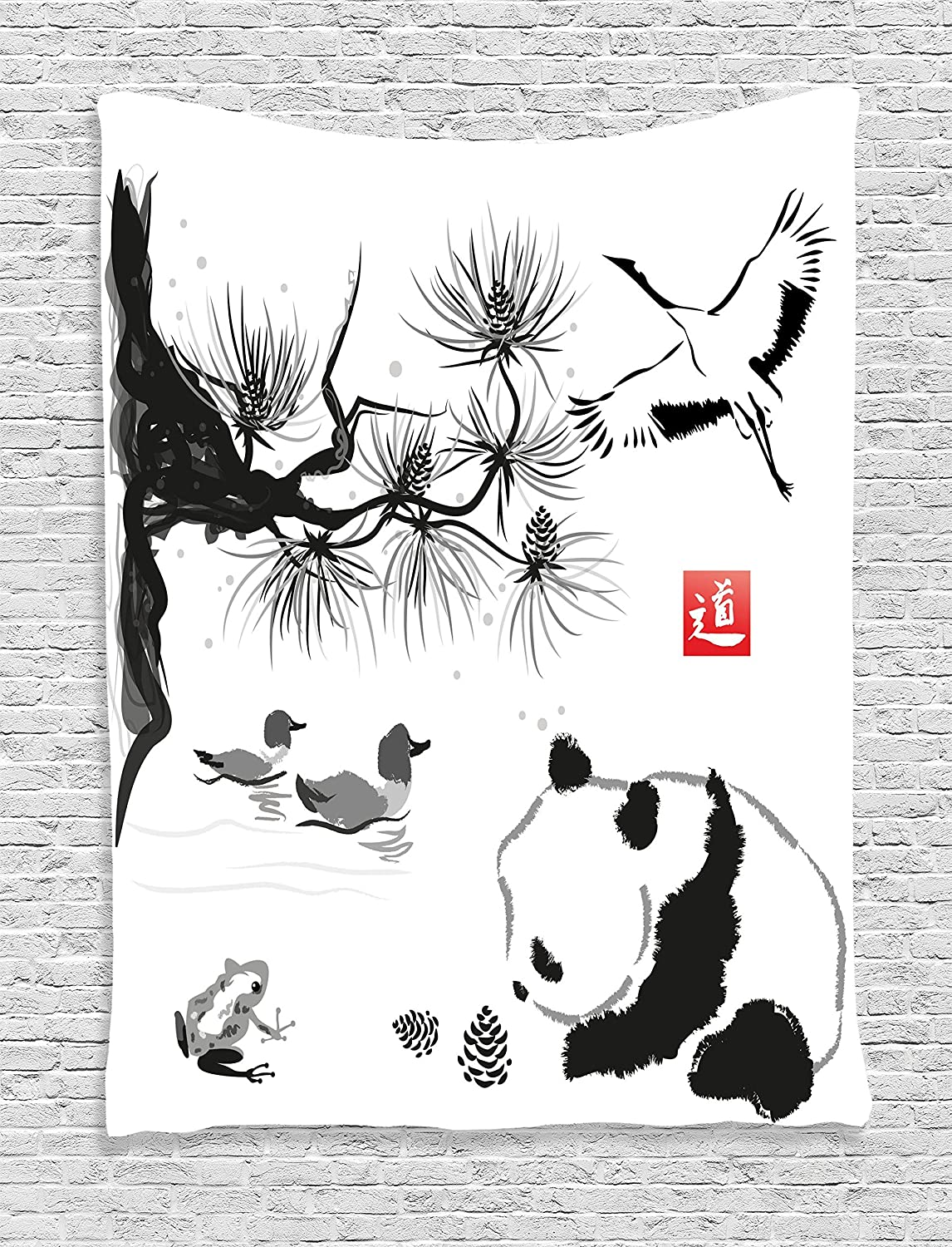 Bird cedar panda bear traditional japanese painting style art hieroglyph image bedroom living room dorm wall hanging tapestry black white and gray
