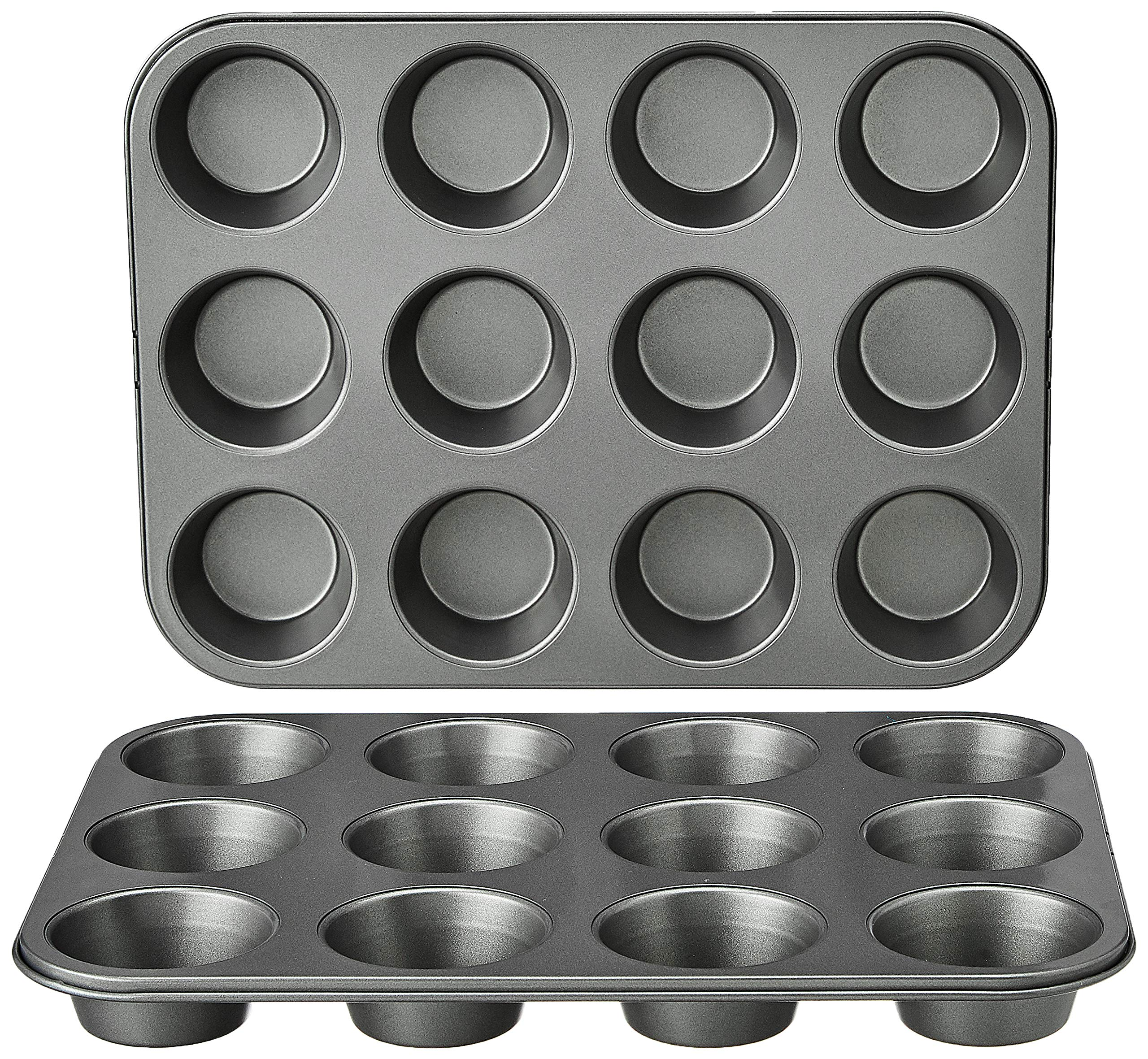 Amazon Basics Nonstick Muffin Baking Pan, 12 cups - Set of 2
