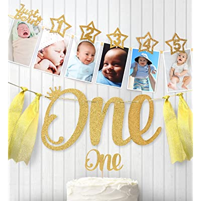 1st Birthday Gold Glitter Decorations - Handmade Monthly Milestone Photo Banner for Newborn to 12 Months, Cake Topper and ONE Banner. Great for 1 Year Old Celebration, Party Supplies: Toys & Games [5Bkhe0500476]