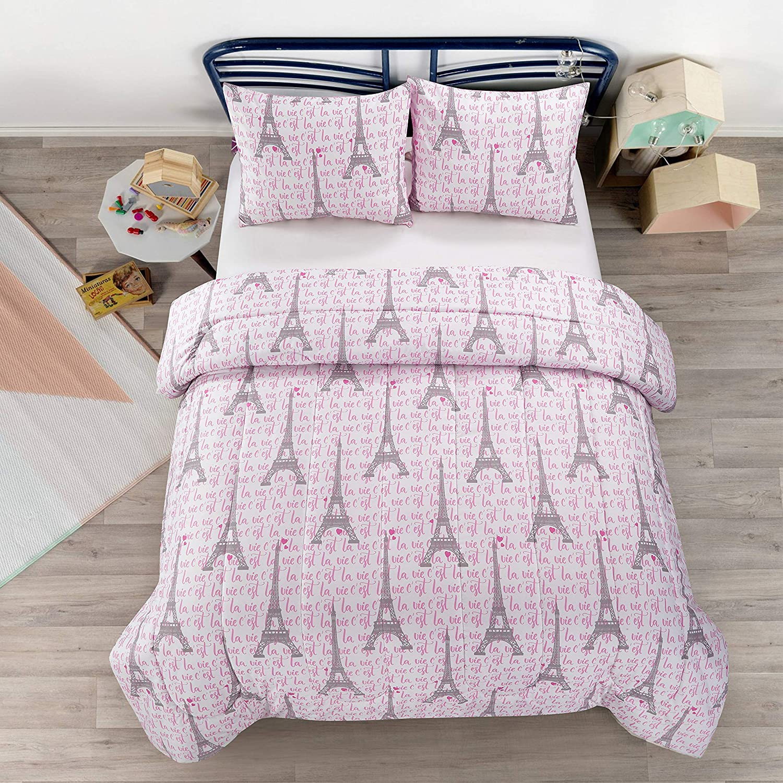 Heritage Kids Paris Love Eiffel Tower Kids Microfiber Ultra Soft Comforter Set Shams Included, Twin, Pink