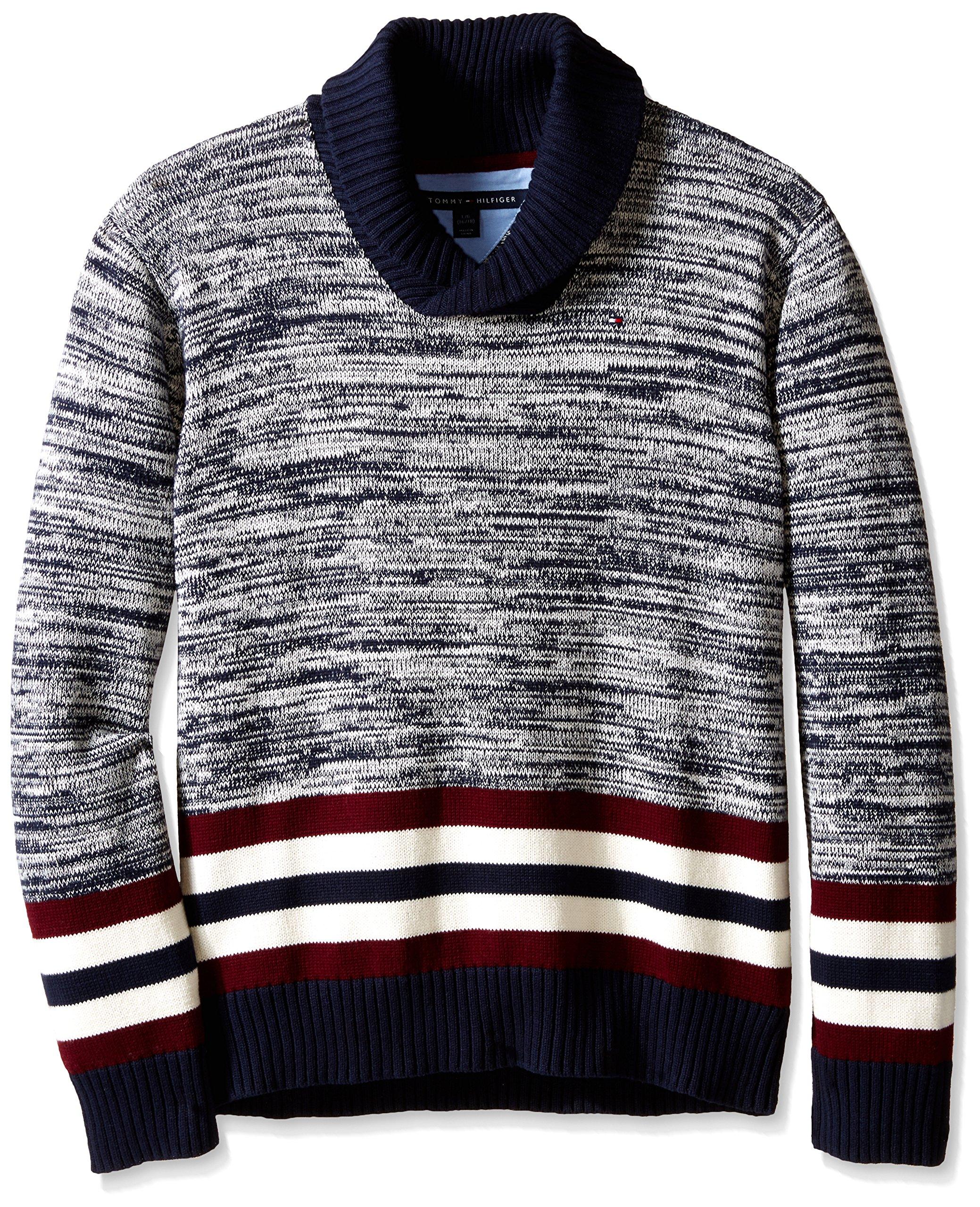 Tommy Hilfiger Big Boys' Long Sleeve Cowl Collar Sweater, Swim Navy, Large
