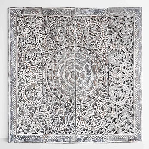 Amazon Com Mandala Wooden Wall Home Decor Hand Carved In Teak Wood