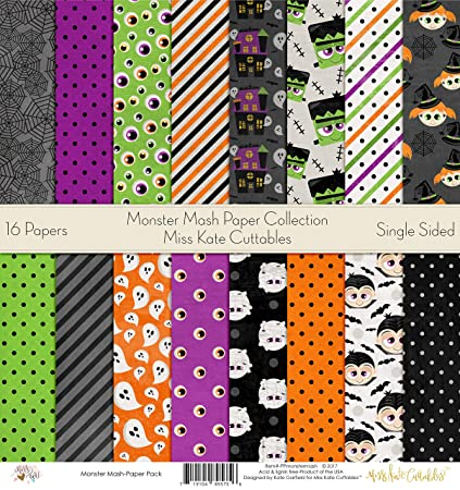 amazon com monster mash printed scrapbook paper set by miss kate