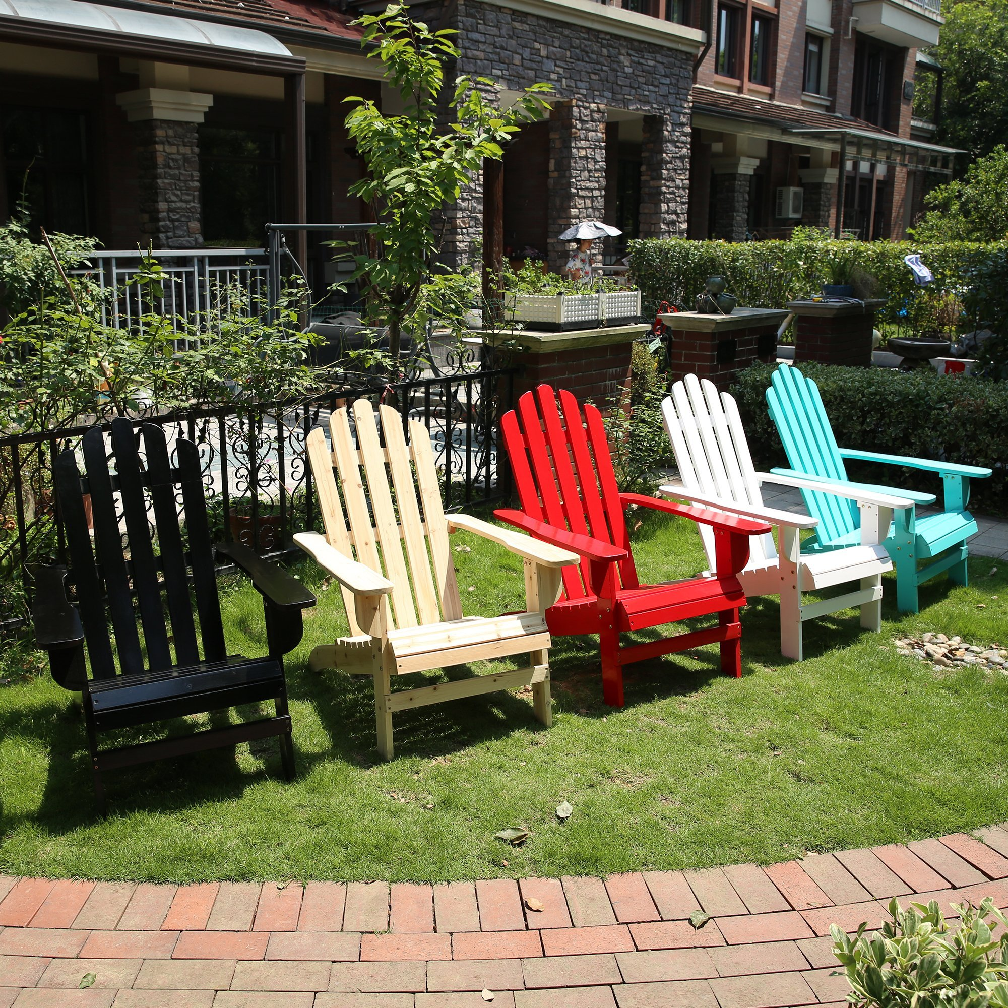 Azbro Outdoor Wooden Fashion Adirondack chair/Muskoka Chairs Patio Deck Garden Furniture,Turquoise by Azbro (Image #7)