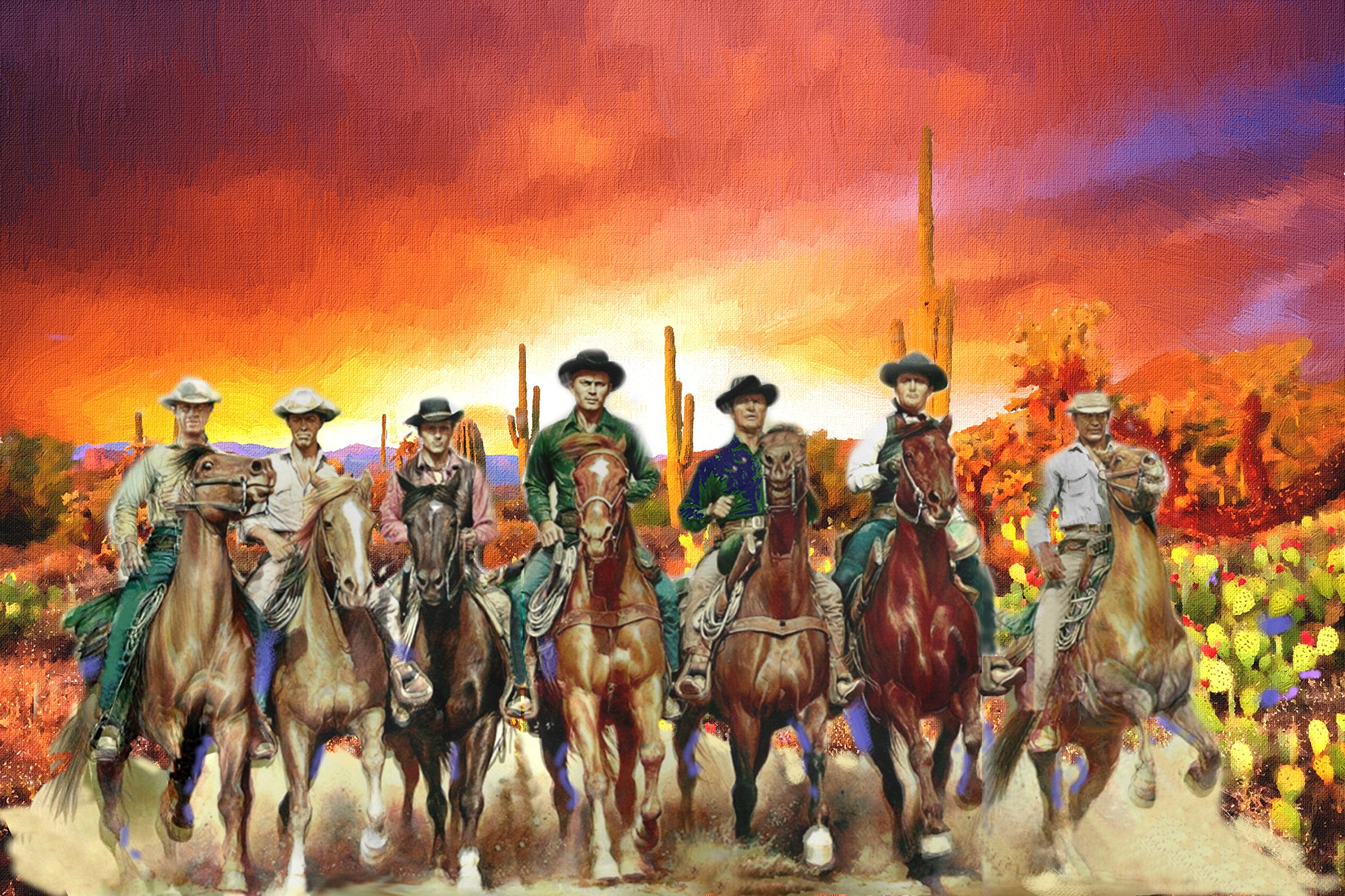 XXL 20 x 30 Poster The Magnificent Seven 7, Digital Oil Painting Old West Movie 1960