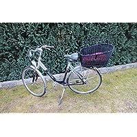 Marcus Hundefahrradkorb für Gepäckträger aus Weide mit Metallgitter und Kissen Schwarz XL oder XXL Gepäckträgerkorb Weidenkorb Hundekorb Tierkorb