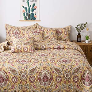 Tache 3 Piece Floral Paisley Summer Gold Royal Medallion Bedspread Quilt Set, Queen