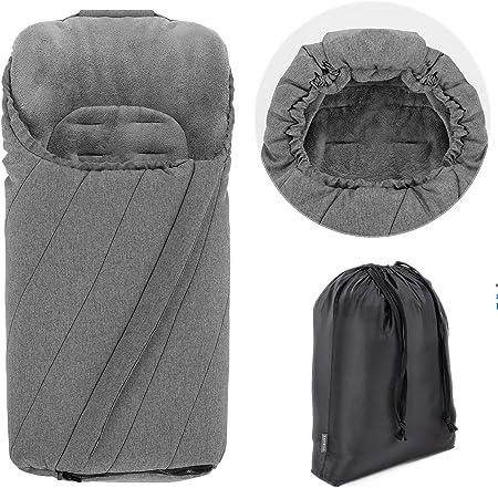 Zamboo - Saco de invierno Universal para Cochecito y Silla de Paseo con protección antideslizante, Forro Polar térmico Deluxe, capucha tipo momia y bolsa - Gris