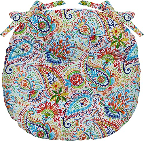 RSH D cor Indoor Outdoor Tufted Bistro Round Chair Seat Cushions Ties Available in 4 Sizes Various Fabrics Single 16 Diameter , Gilford Primary Thin Line Paisley Floral