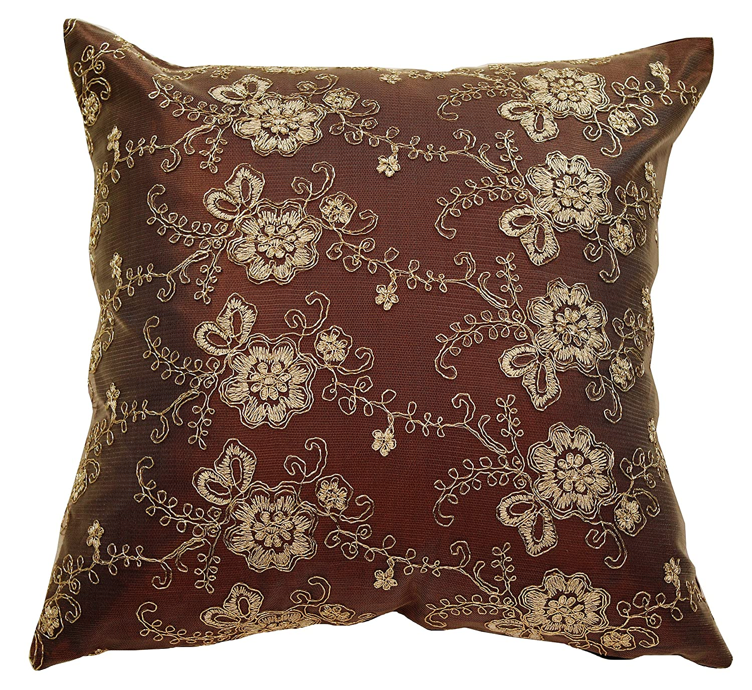 "Swiss Embroidered Flowers Vintage Design 18"" X 18"" Throw Pillow - In Brown"