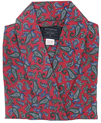 Pyjamas4You Men\'s Silk Dressing Gown - Red Paisley Design: Amazon.co ...