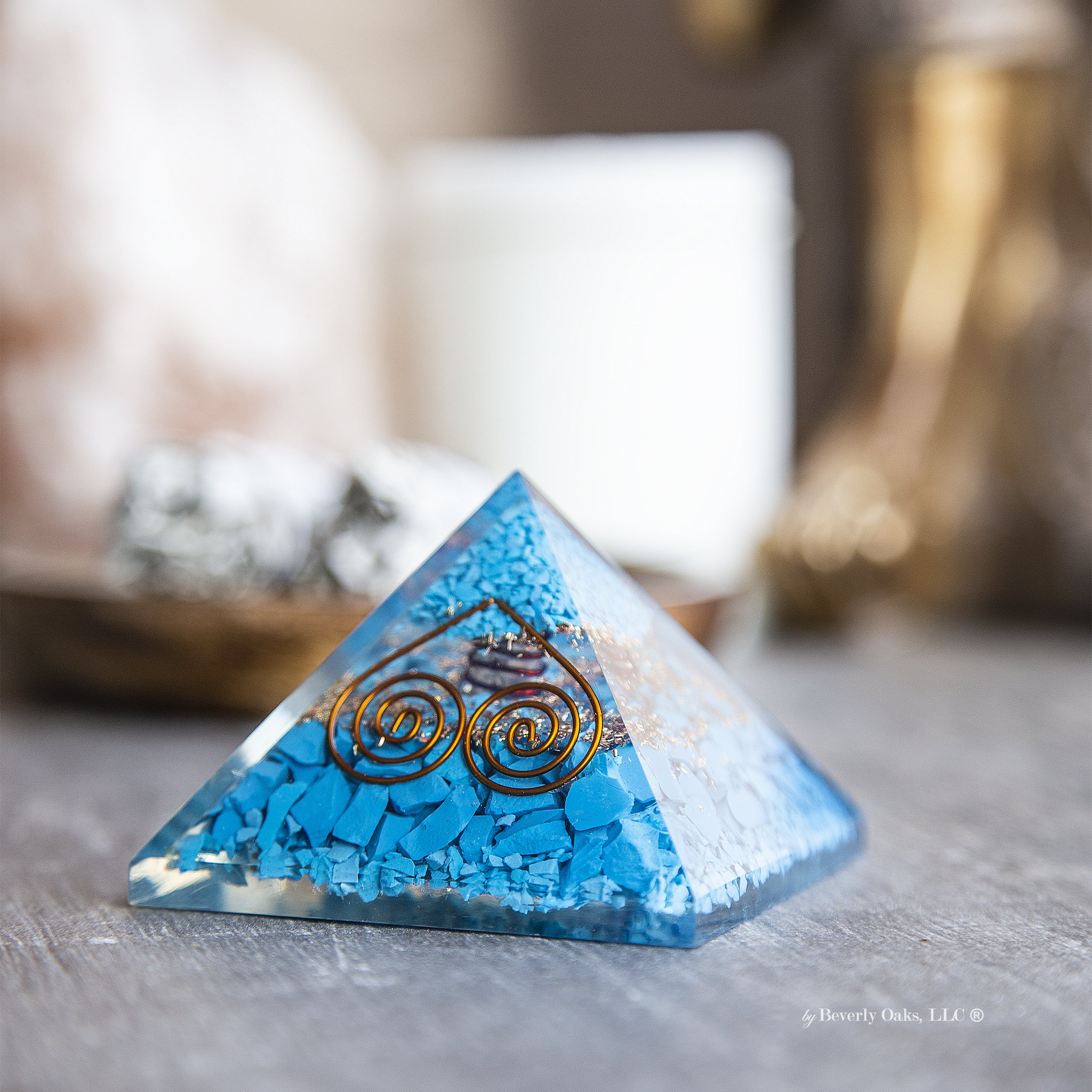 Charged Gemstone Orgone Pyramid – Certified Orgonite® Healing Crystals and Copper Turquoise Bio–Energy Enhancing Tool by Beverly Oaks