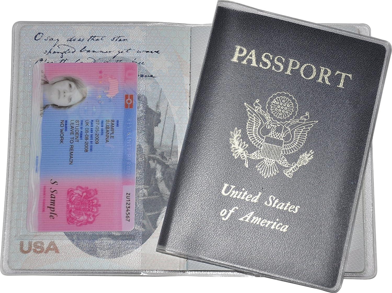 2 protectores de pasaportes universales con un bolsillo para el título de sejour o la tarjeta sanitaria europea.: Amazon.es: Equipaje