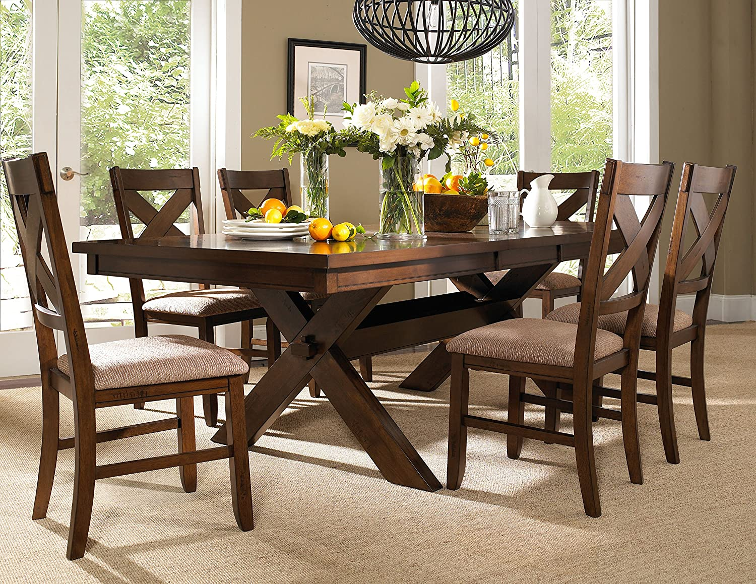 Amazon com powell 713 417m2 7 piece wooden kraven dining set table chair sets