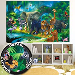great-art Fototapete Dschungel Tiere - 210 x 140 cm 5-Teile Kinderzimmer Zoo Dekoration Kindermotiv Wanddekoration Jungen Mädchen