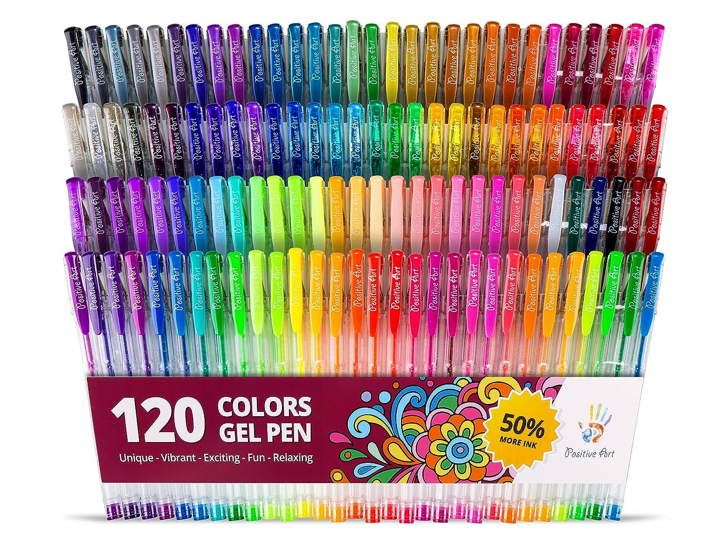 amazon com positive arts gel pen set 120 unique colors for drawing