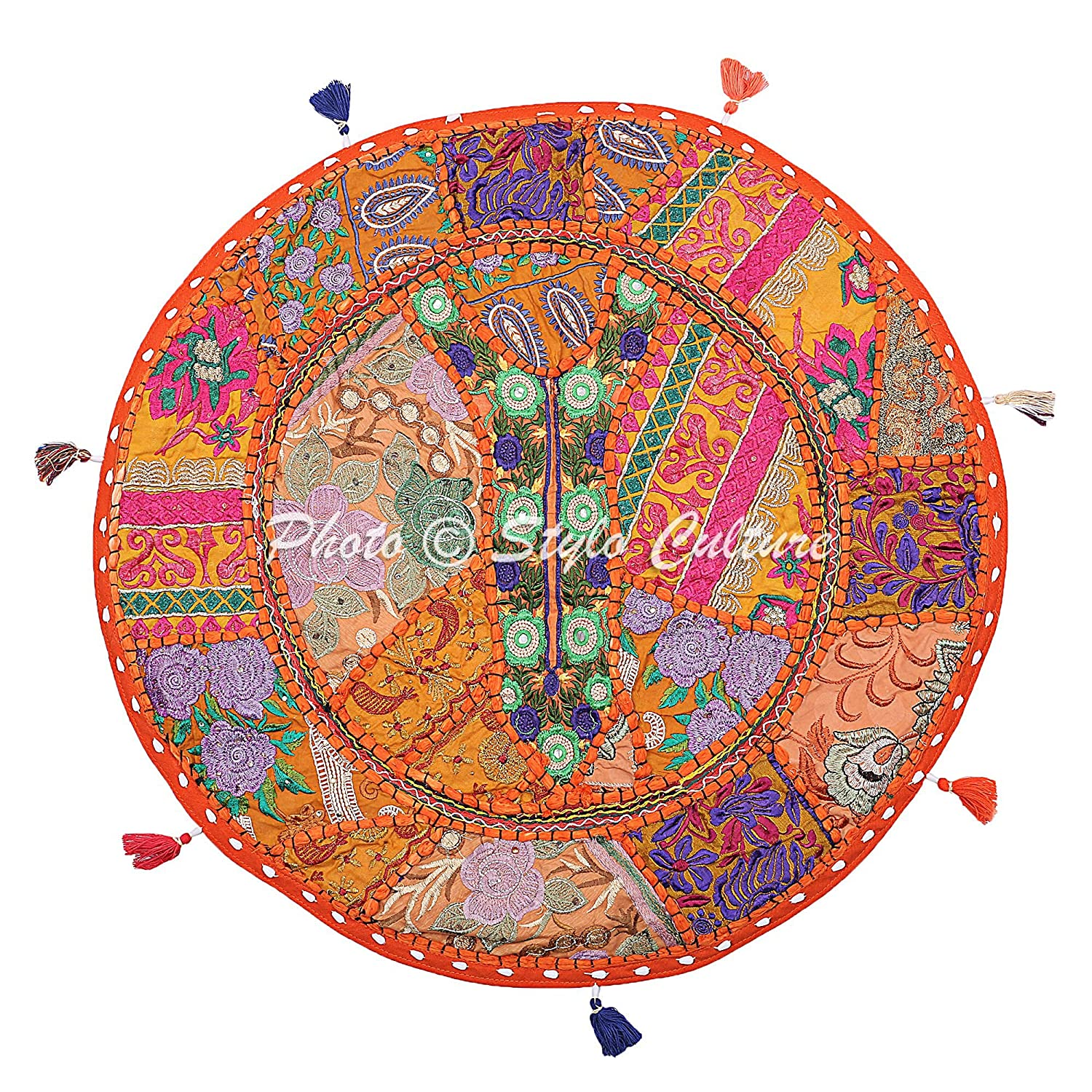 Stylo Culture Cotton Indian Floor Cushion Cover Throw Vintage Embroidered Patchwork Indian Floor Pillow Orange 22' Seat Pouf Cover SC-FCUSH00019