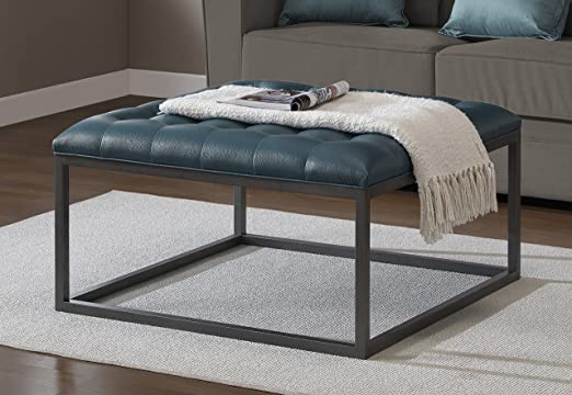 Amazon Com Coffee Table Ottoman Modern Button Tufted Leather