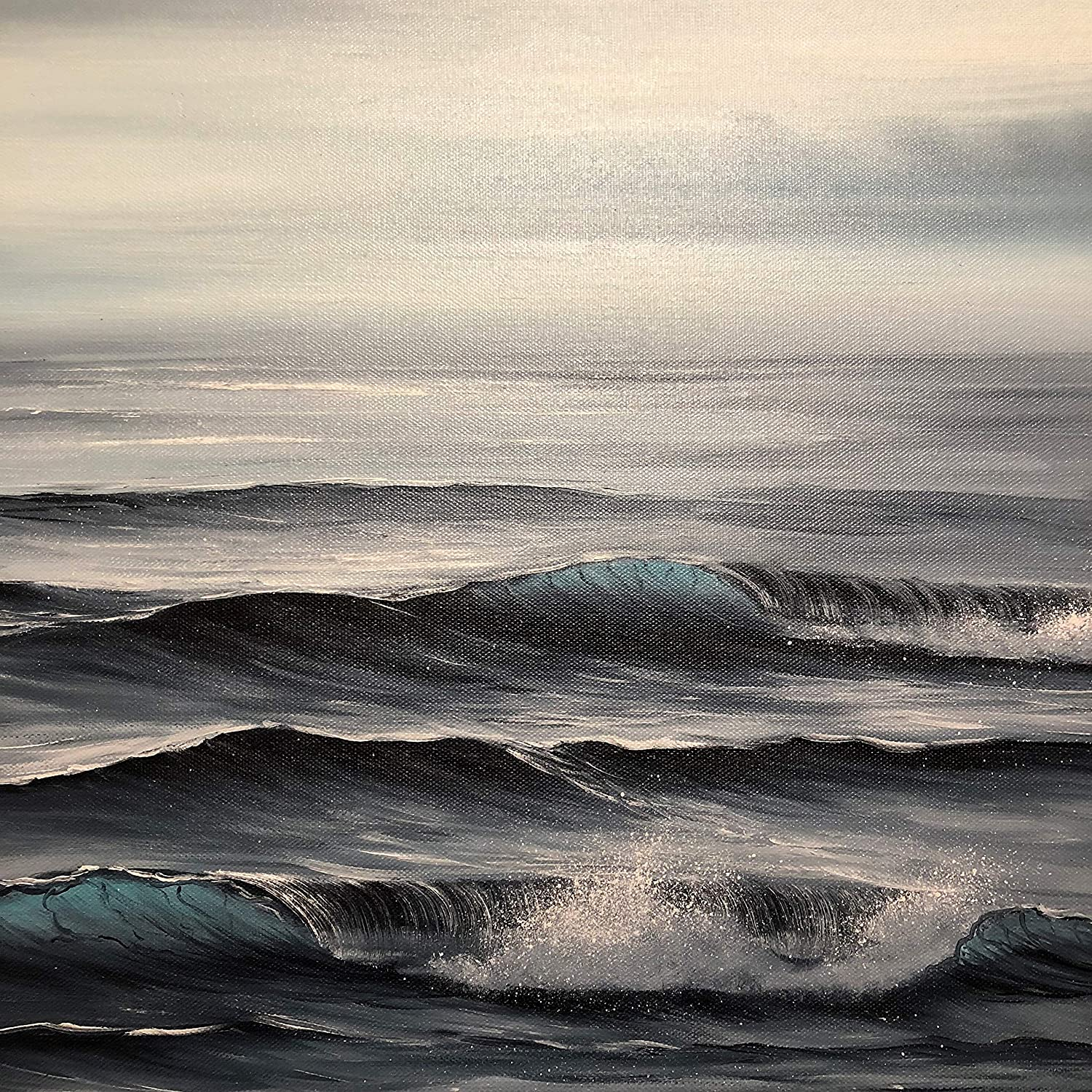 Amazon com mist original black and white ocean waves painting by