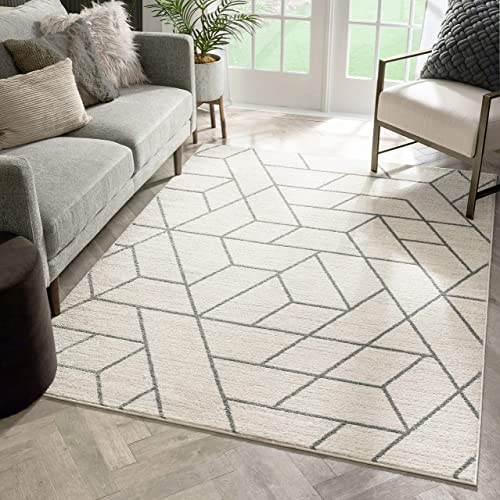 Well Woven Plaza Geometric Ivory Modern Lines Angles Tiles Shapes Area Rug 8×11 7'10″ x 9'10″ Carpet