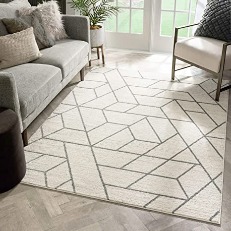 Well Woven Plaza Geometric Ivory Modern Lines Angles Tiles Shapes Area Rug 5x7 5 3 X 7 3 Carpet Home Kitchen