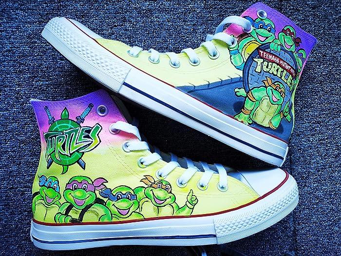 Hand Painted Shoes Design Custom Teenage Mutant Ninja Turtles High Top Men Women Canvas Sneakers Free Shipping