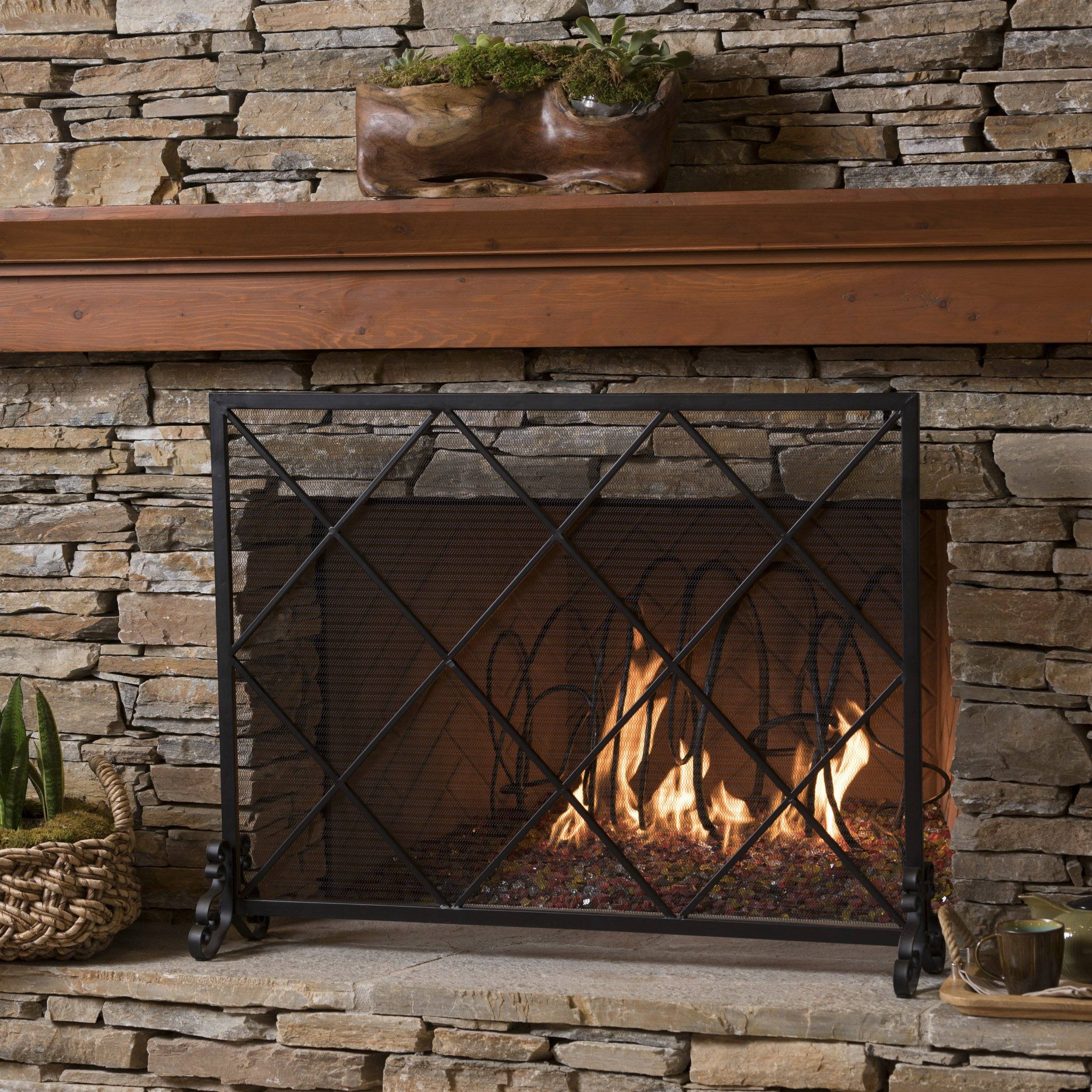 Great Deal Furniture 302042 Hayden Single Panel Black Iron Fire Screen by Great Deal Furniture