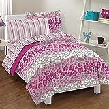 Dream Factory Safari Girl Leopard Ultra Soft Microfiber Comforter Set, Pink, Twin