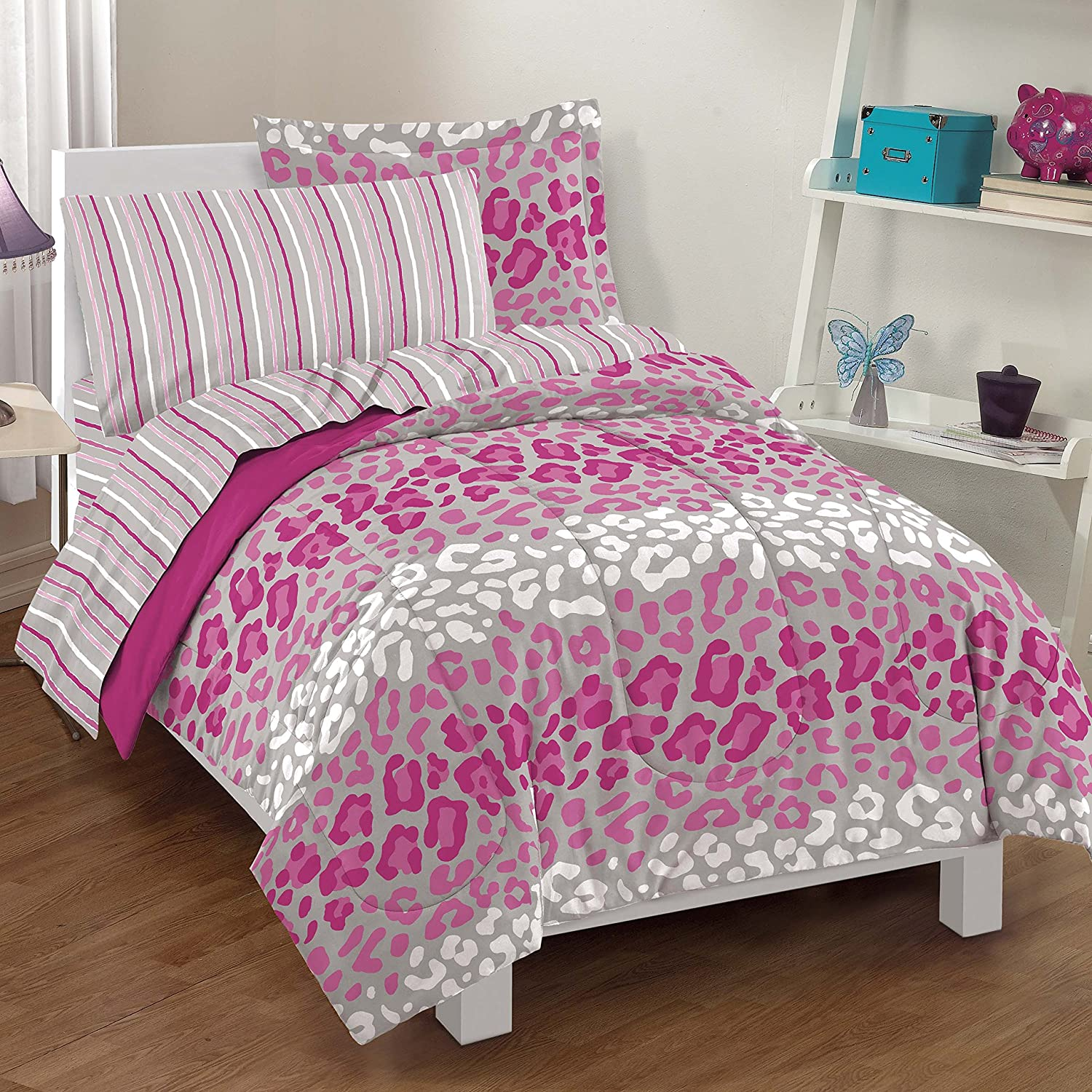Cheap zebra print bedroom sets - Dream Factory Safari Girl Leopard Ultra Soft Microfiber Comforter Set Pink Full