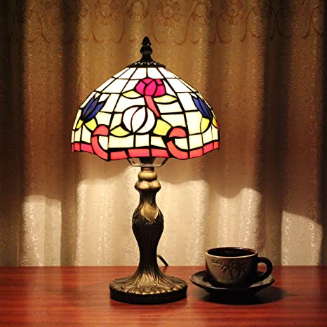 8 Inch Pastoral Stained Glass Tiffany Lotus Flower Table Lamp