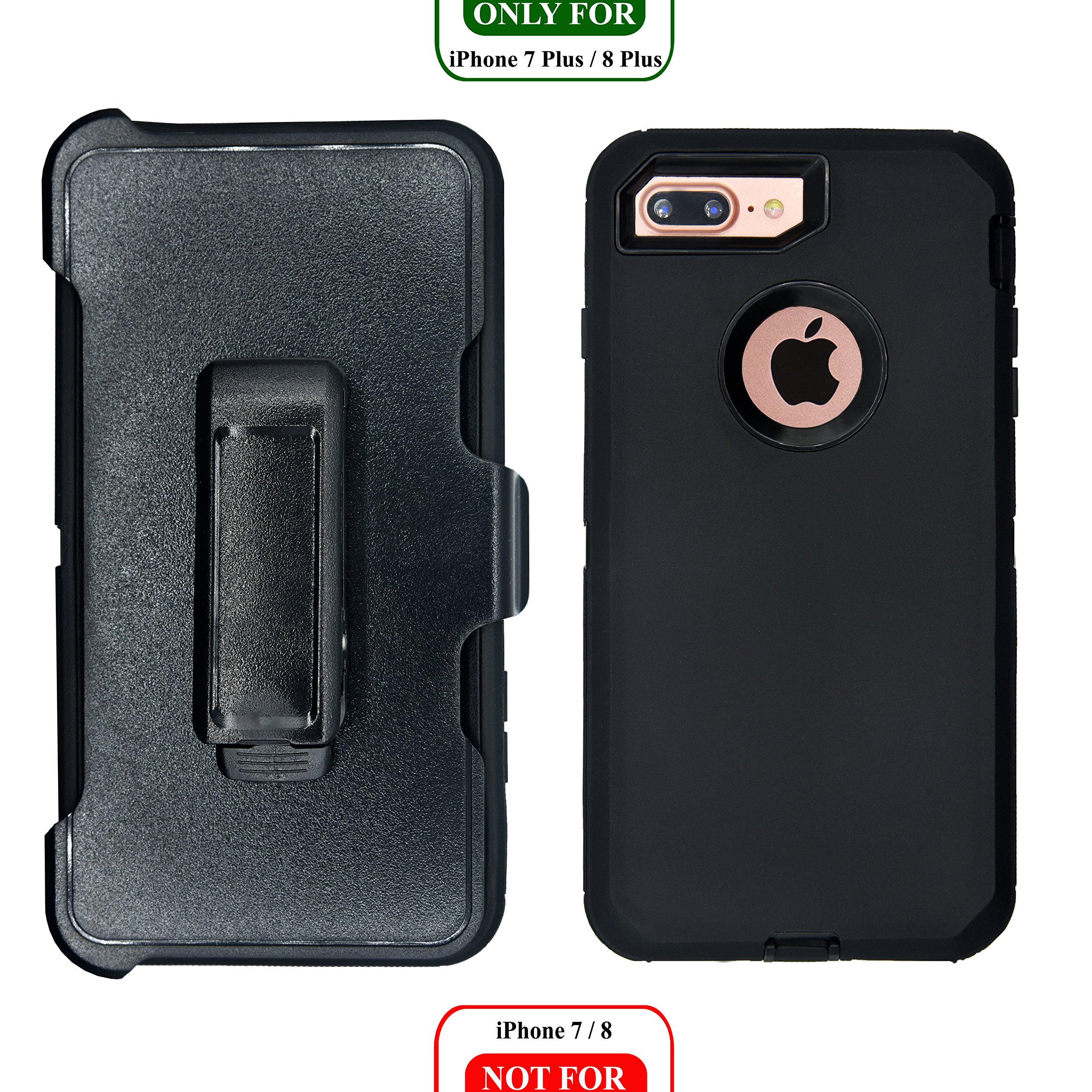 iPhone 7 Plus / 8 Plus Cover | 2-in-1 Screen Protector & Holster Case | Full Body, Military Grade Edge-to-Edge Protection with carrying belt clip Black / Black by AlphaCell (Image #2)