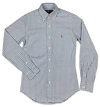 442fd6f5 Ralph Lauren Men's Stretch Oxford Slim Fit Button-Down Shirt(XXL, Slate  Blue/White) at Amazon Men's Clothing store: