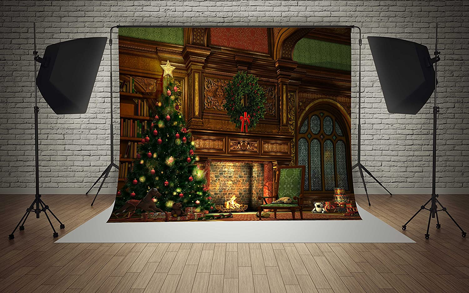 8x8ft Microfiber Interior Castle Christmas Tree Presents Fireplace Party Decorations Photo Booth Background Seamless Collapsible Washable and No Creases Photography Backdrop
