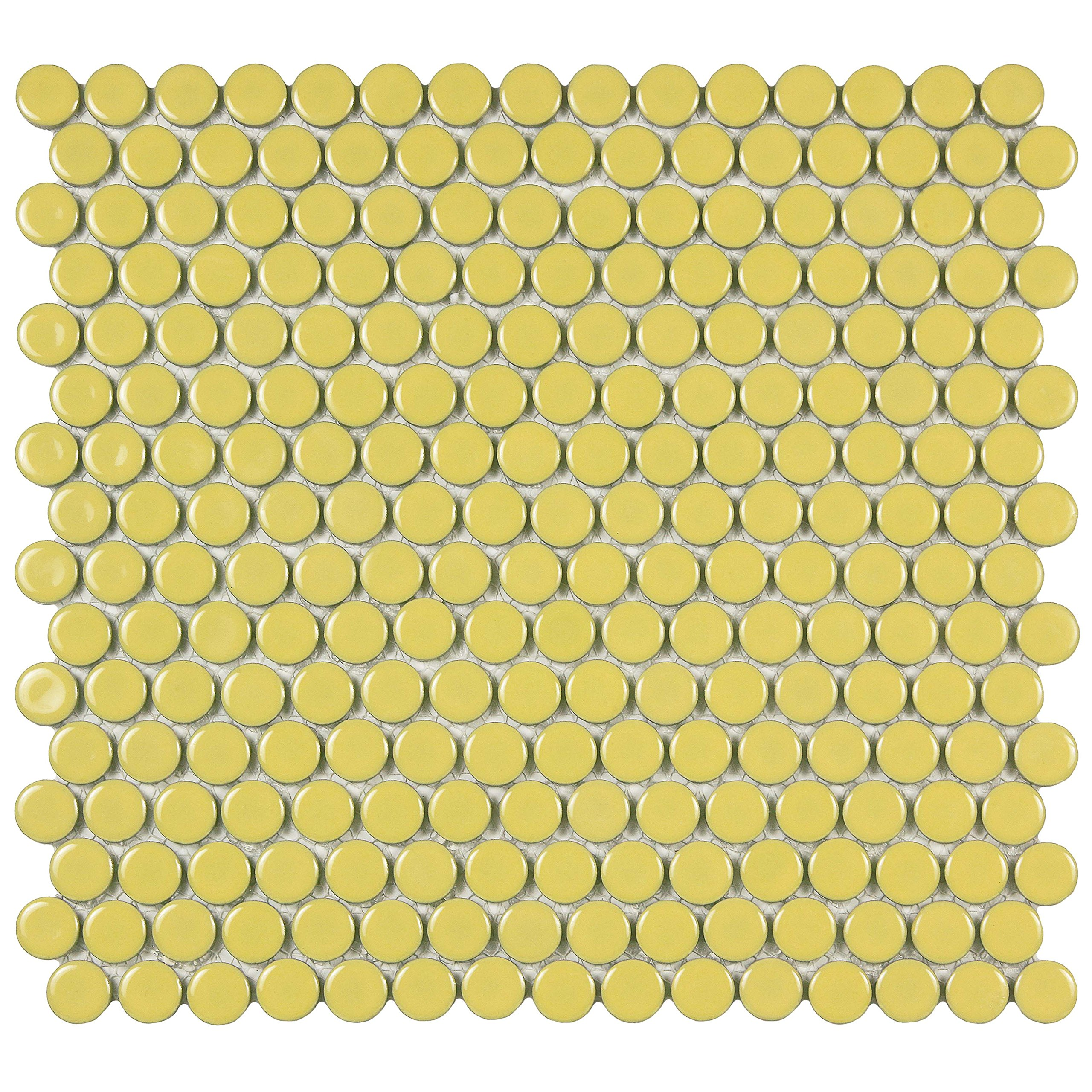 SomerTile FKOMPR06 Penny Porcelain Mosaic Floor and Wall Tile, 12'' x 12.625'', Vintage Yellow by SOMERTILE