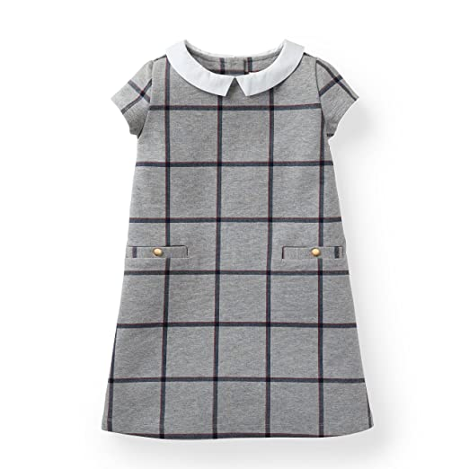 Hope & Henry Girls' Grey Ponte Dress with Collar Made with Organic Cotton