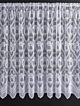 Leona Net Curtains [Drop - 206 cm (80 inch)] [Colour - white ...