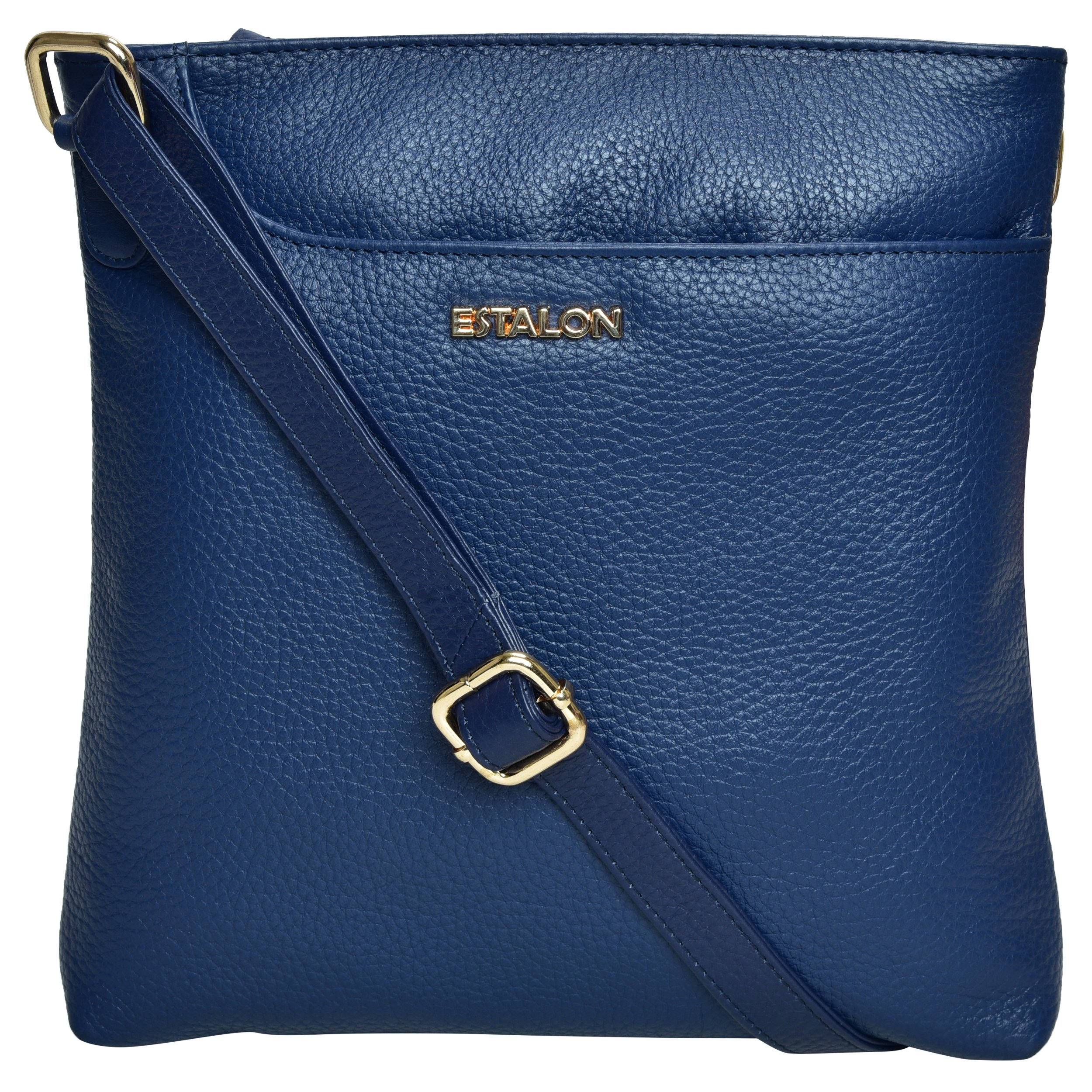 Premium Leather Crossbody Slim Bag for Women - Handmade Cross Body Over the Shoulder Purse Luxury Womens (Navy Pebble)