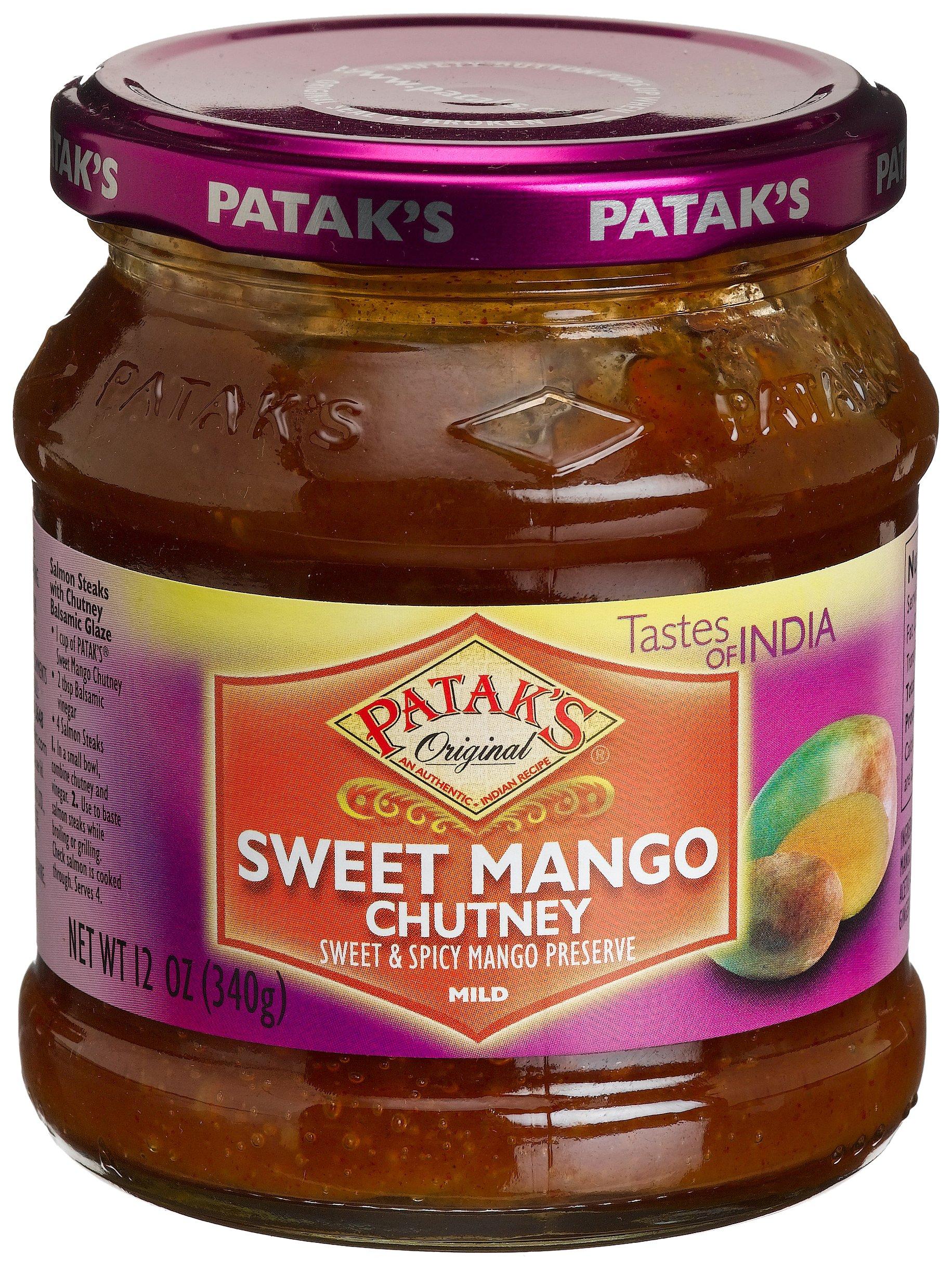 Patak's Sweet Mango Chutney, Mild, 12-Ounce Glass Jars (Pack of 6)