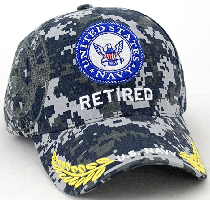 Amazon.com  United States Navy Retired Baseball Cap (Blue Bar Logo)   Clothing e9a44adcd061