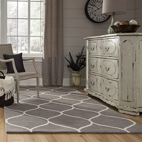 Momeni Rugs Newport Collection, 100 Wool Hand Tufted Loop Cut Contemporary Area Rug, 5 x 8 , Grey