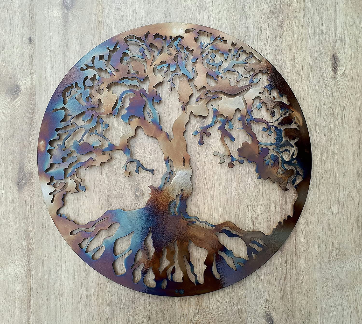 Tree Of Life Heat Colored 23 5 Metal Wall Decor Amazon Co Uk Kitchen Home