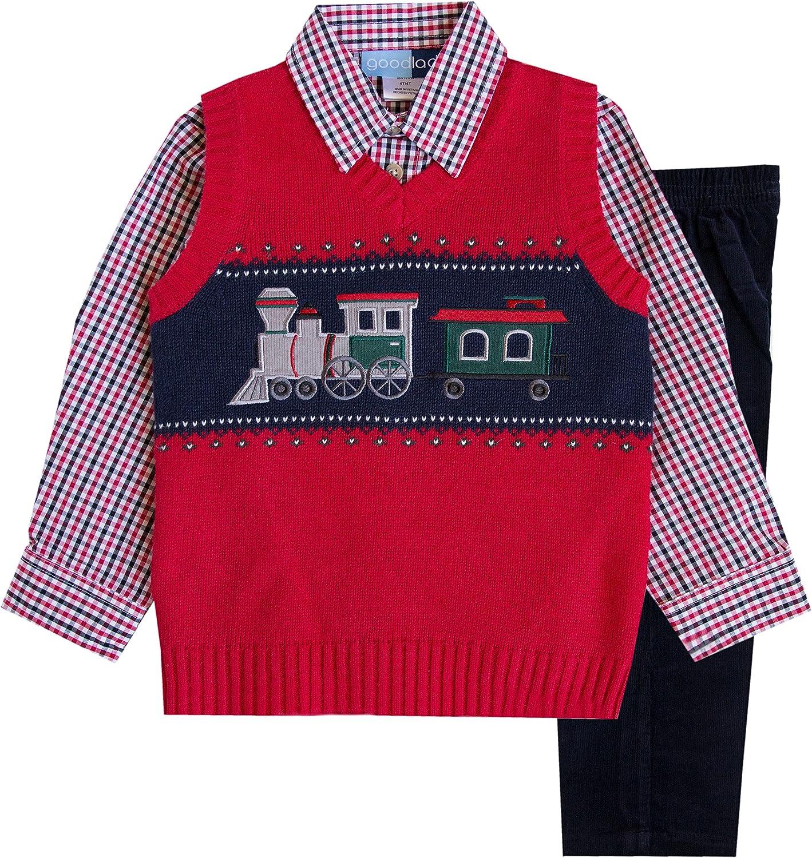 Good Lad 2//7 Boys 3 Pc Red Train Motif Sweater Vest Set