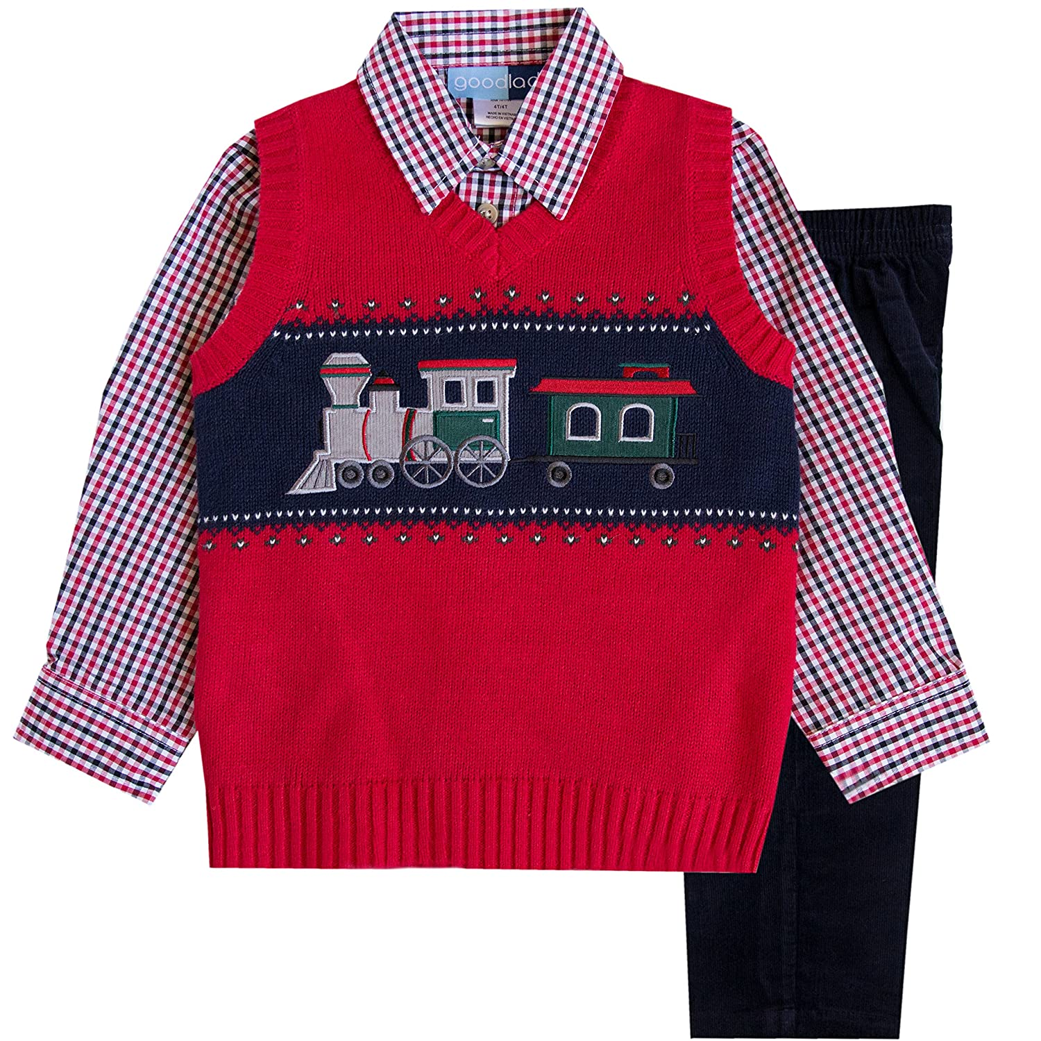 Good Lad 2/7 Boys 3 Pc Red Train Motif Sweater Vest Set 4544H3