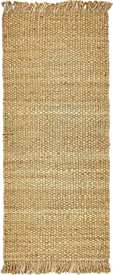Unique Loom Chunky Jute Collection Solid Transitional Natural Runner Rug (3' x 6')