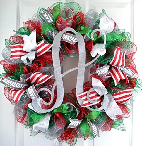 Christmas Mesh Wreath Red Emerald Green Silver Outdoor Monogram Initial Front Door Wreath C4