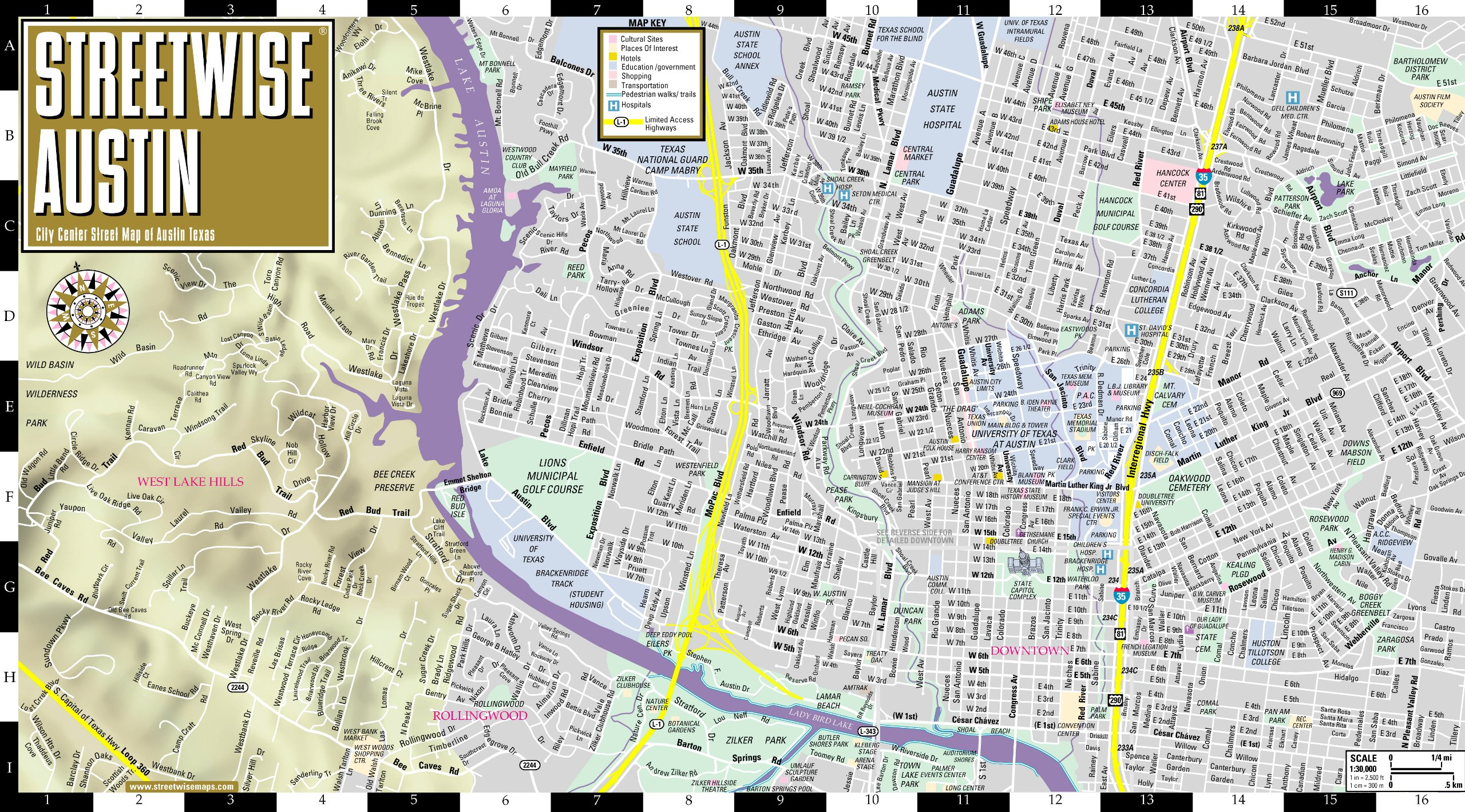 Streetwise Austin Map Laminated City Center Street Map Of Austin