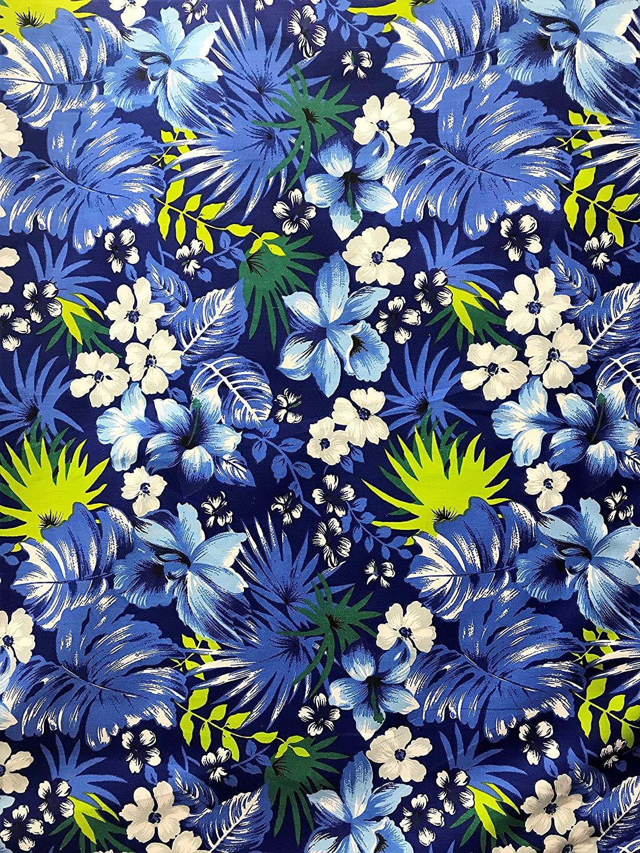Amazon Com Hawaiian Floral Print Poly Cotton Fabric By The Yard